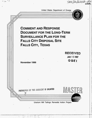 Primary view of object titled 'Comment and response document for the long-term surveillance plan for the Falls City disposal site, Falls City, Texas'.