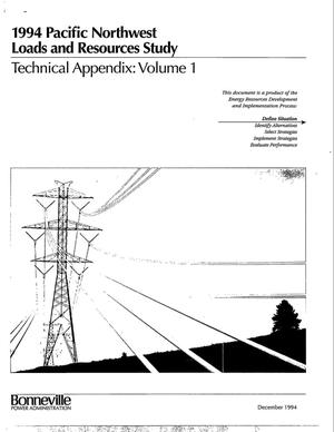 Primary view of object titled '1994 Pacific Northwest Loads and Resources Study, Technical Appendix: Volume 1.'.