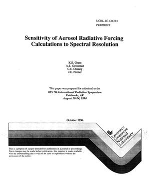 Primary view of object titled 'Sensitivity of aerosol radiative forcing calculations to spectral resolution'.