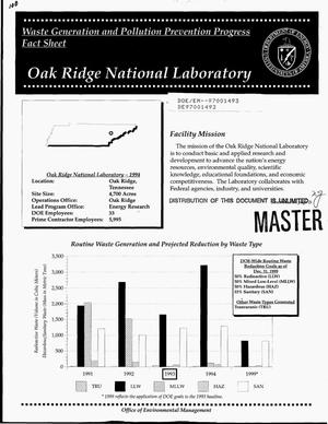 Primary view of object titled 'Waste Generation and Pollution Prevention Progress Fact Sheet: Oak Ridge National Laboratory'.