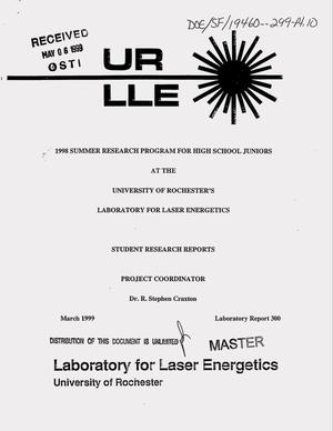 Primary view of object titled 'Design and testing of a compact X-ray diode. 1998 summer research program for high school juniors at the University of Rochester`s Laboratory for Laser Energetics: Student research reports'.