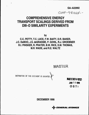 Primary view of object titled 'Comprehensive energy transport scalings derived from DIII-D similarity experiments'.