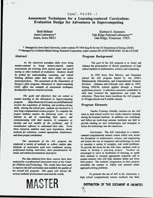 Primary view of object titled 'Assessment techniques for a learning-centered curriculum: evaluation design for adventures in supercomputing'.