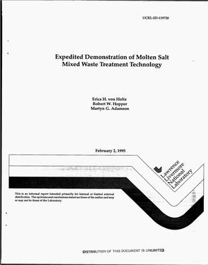 Primary view of object titled 'Expedited demonstration of molten salt mixed waste treatment technology. Final report'.