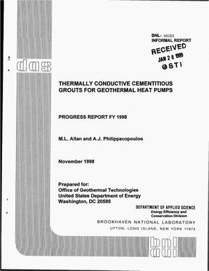Primary view of object titled 'Thermally conductive cementitious grouts for geothermal heat pumps. Progress report FY 1998'.