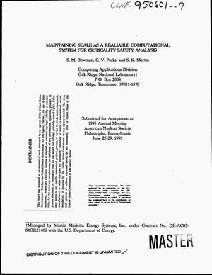 Primary view of object titled 'Maintaining scale as a realiable computational system for criticality safety analysis'.