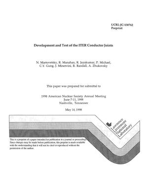 Primary view of object titled 'Development and test of the ITER conductor joints'.