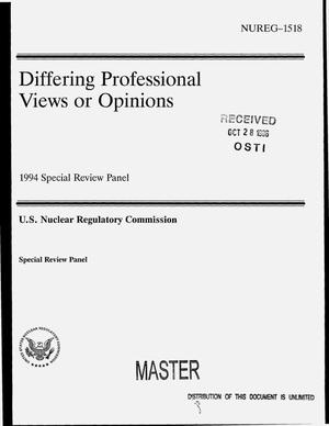 Primary view of object titled 'Differing professional views or opinions: 1994 Special Review Panel'.