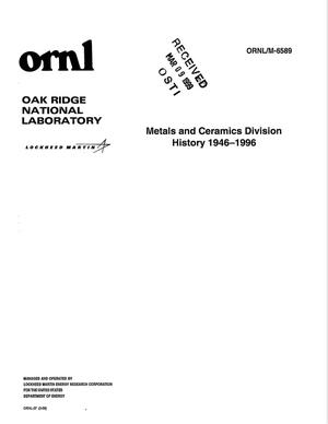 Primary view of object titled 'Metals and Ceramics Division History 1946-1996'.