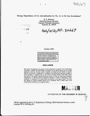 Primary view of object titled 'Energy dependence of Ge amorphization by Ne, Ar or Kr ion irradiation'.