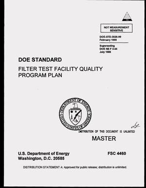 Primary view of object titled 'DOE standard: Filter test facility quality program plan'.