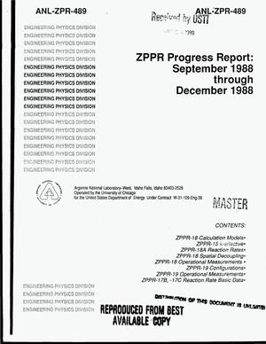 Primary view of object titled 'ZPPR progress report: September 1988--December 1988'.