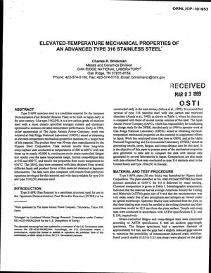 Primary view of object titled 'Elevated-Temperature Mechanical Properties of an Advanced Type 316 Stainless Steel'.