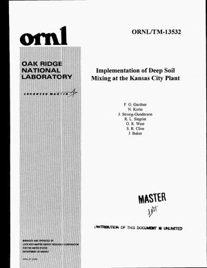 Primary view of object titled 'Implementation of deep soil mixing at the Kansas City Plant'.