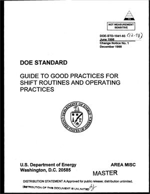 Primary view of object titled 'Guide to good practices for shift routines and operating practices'.