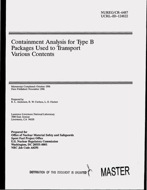 Primary view of object titled 'Containment analysis for Type B packages used to transport various contents'.