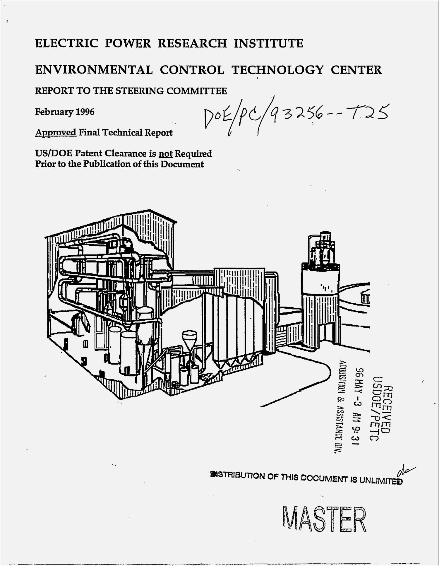 Electric Power Research Institute: Environmental Control Technology Center. Report to the Steering Committee, February 1996. Final technical report                                                                                                      [Sequence #]: 1 of 80