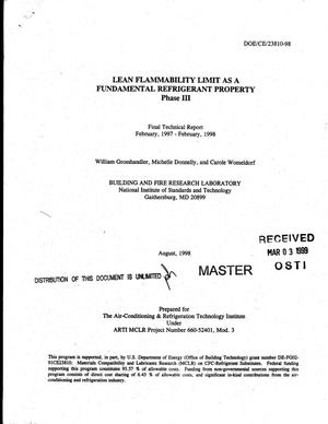 Primary view of object titled 'Lean flammability limit as a fundamental refrigerant property: Phase 3. Final technical report, February 1997--February 1998'.
