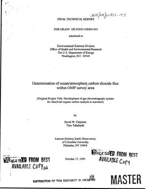 Primary view of object titled 'Determination of ocean/atmosphere carbon dioxide flux within OMP survey area. Final technical progress report, June, 1 1993--May 31, 1995'.