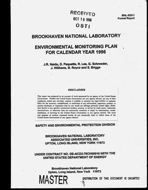 Primary view of object titled 'Brookhaven National Laboratory environmental monitoring plan for Calendar Year 1996'.