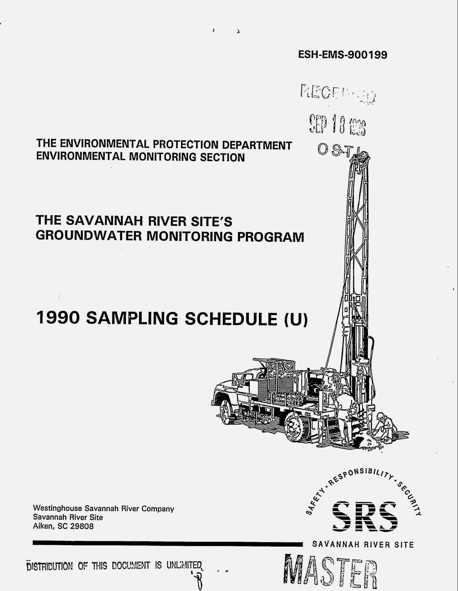 The Savannah River Site`s groundwater monitoring program: 1990 sampling schedule                                                                                                      [Sequence #]: 1 of 175