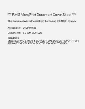 Primary view of object titled 'Engineering study and conceptual design report for primary ventilation duct flow monitoring'.