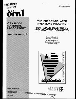 Primary view of object titled 'The energy-related inventions program: Continuing benefits to the inventor community'.