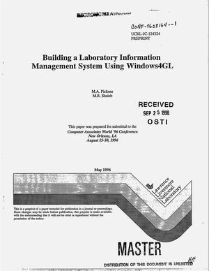 Primary view of object titled 'Building a Laboratory Information Management System Using Windows4GL'.