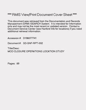 Primary view of object titled 'Multi-canister overpack closure operations location study'.