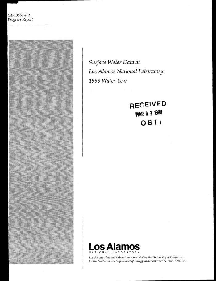 Surface Water Data at Los Alamos National Laboratory 1998