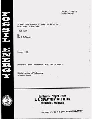 Primary view of object titled 'Surfactant-enhanced alkaline flooding for light oil recovery. [Annual report], 1993--1994'.