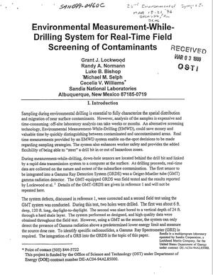 Primary view of object titled 'Environmental Measurement-While-Drilling System for Real-Time Field Screening of Contaminants'.