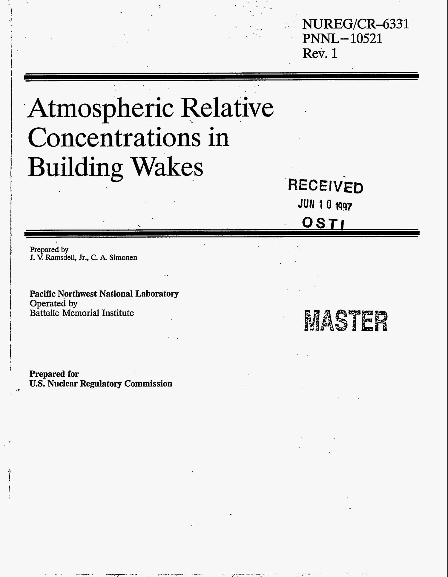 Atmospheric relative concentrations in building wakes                                                                                                      [Sequence #]: 1 of 149