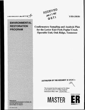 Primary view of object titled 'Confirmatory Sampling and Analysis Plan for the Lower East Fork Poplar Creek Operable Unit, Oak Ridge, Tennessee'.