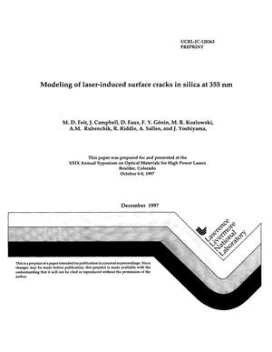 Primary view of object titled 'Modeling laser-induced surface cracks in silica at 355 nm'.