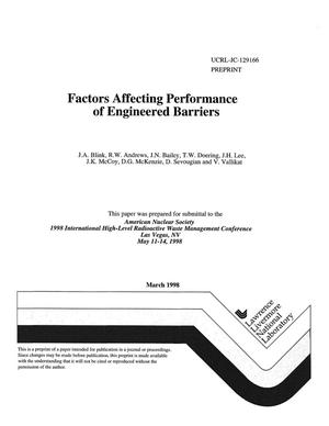 Primary view of object titled 'Factors affecting performance of engineered barriers'.