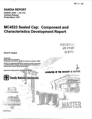 Primary view of object titled 'MC4523 Sealed Cap: Component & characteristics development report'.