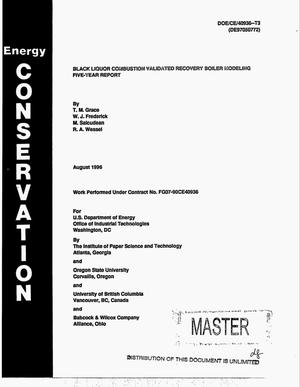 Primary view of object titled 'Black liquor combustion validated recovery boiler modeling, five-year report'.