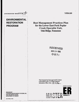 Primary view of object titled 'Best management practices plan for the Lower East Fork Poplar Creek Operable Unit, Oak Ridge, Tennessee'.