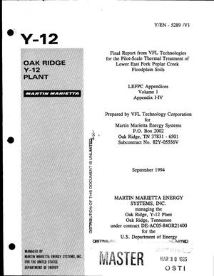 Primary view of object titled 'Final report from VFL technologies for the pilot-scale thermal treatment of Lower East Fork Poplar Creek floodplain soils: LEFPC appendices, volume 1, appendix I-IV'.