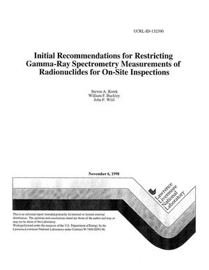 Primary view of object titled 'Initial recommendations for restricting gamma-ray spectrometry measurements of radionuclides for on-site inspections'.