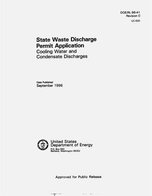 Primary view of object titled 'State waste discharge permit application for cooling water and condensate discharges'.