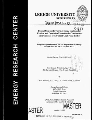 Primary view of object titled 'Cermet composite thermal spray coatings for erosion and corrosion protection in combustion environments of advanced coal-fired boilers. Semi-annual technical progress report, February 1996--July 1996'.