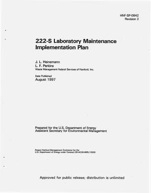 Primary view of object titled '222-S Laboratory maintenance implementation plan'.