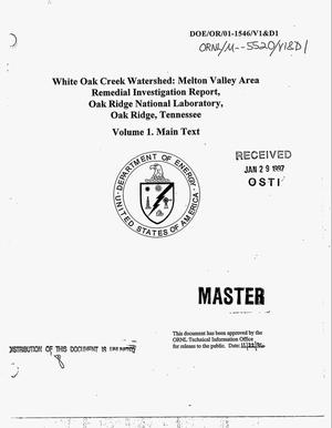 Primary view of object titled 'White Oak Creek Watershed: Melton Valley Area Remedial Investigation Report, Oak Ridge National Laboratory, Oak Ridge, Tennessee: Volume 1 Main Text'.