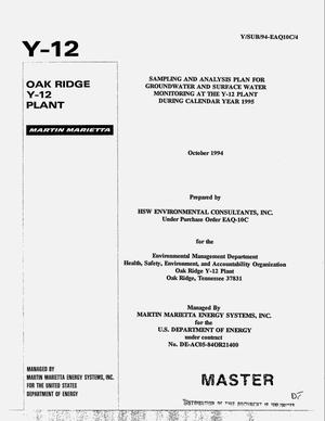 Primary view of object titled 'Sampling and analysis plan for groundwater and surface water monitoring at the Y-12 Plant during calendar year 1995'.