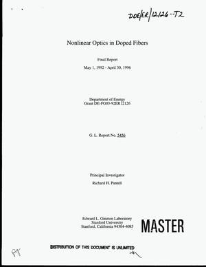 Primary view of object titled 'Nonlinear optics in doped fibers. Final report, May 1, 1992--April 30, 1996'.