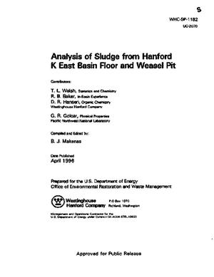 Primary view of object titled 'Analysis of sludge from K East basin floor and weasel pit'.
