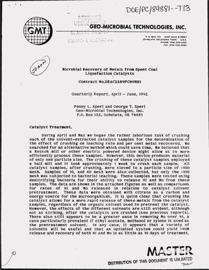 Primary view of object titled 'Microbial recovery of metals from spent coal liquefaction catalysts. Quarterly report, April--June, 1992'.