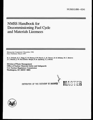 Primary view of object titled 'NMSS handbook for decommissioning fuel cycle and materials licensees'.